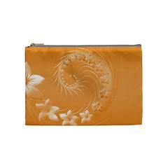 Orange Abstract Flowers Cosmetic Bag (medium) by BestCustomGiftsForYou