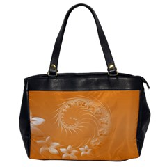 Orange Abstract Flowers Oversize Office Handbag (one Side) by BestCustomGiftsForYou