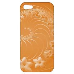 Orange Abstract Flowers Apple Iphone 5 Hardshell Case by BestCustomGiftsForYou