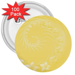 Yellow Abstract Flowers 3  Button (100 Pack) by BestCustomGiftsForYou