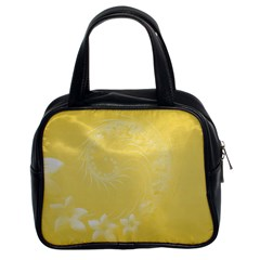 Yellow Abstract Flowers Classic Handbag (two Sides) by BestCustomGiftsForYou