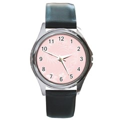 Light Pink Abstract Flowers Round Metal Watch (silver Rim)