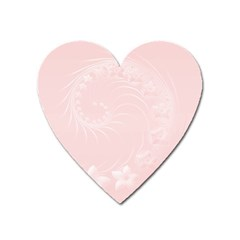 Light Pink Abstract Flowers Magnet (heart) by BestCustomGiftsForYou