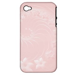 Light Pink Abstract Flowers Apple Iphone 4/4s Hardshell Case (pc+silicone) by BestCustomGiftsForYou
