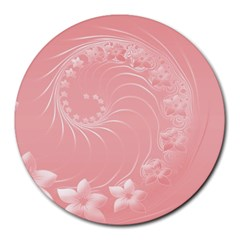 Pink Abstract Flowers 8  Mouse Pad (round) by BestCustomGiftsForYou
