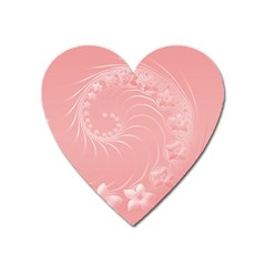 Pink Abstract Flowers Magnet (heart) by BestCustomGiftsForYou