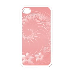 Pink Abstract Flowers Apple Iphone 4 Case (white) by BestCustomGiftsForYou