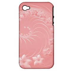 Pink Abstract Flowers Apple Iphone 4/4s Hardshell Case (pc+silicone) by BestCustomGiftsForYou