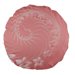 Pink Abstract Flowers 18  Premium Round Cushion  by BestCustomGiftsForYou