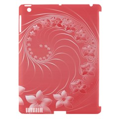 Light Red Abstract Flowers Apple Ipad 3/4 Hardshell Case (compatible With Smart Cover) by BestCustomGiftsForYou