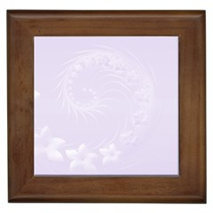 Pastel Violet Abstract Flowers Framed Ceramic Tile by BestCustomGiftsForYou