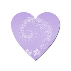 Light Violet Abstract Flowers Magnet (heart) by BestCustomGiftsForYou