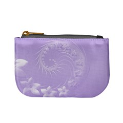 Light Violet Abstract Flowers Coin Change Purse by BestCustomGiftsForYou