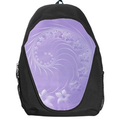 Light Violet Abstract Flowers Backpack Bag by BestCustomGiftsForYou