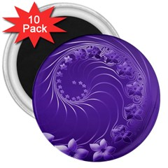 Violet Abstract Flowers 3  Button Magnet (10 Pack) by BestCustomGiftsForYou