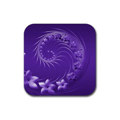 Violet Abstract Flowers Drink Coaster (square) by BestCustomGiftsForYou