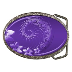 Violet Abstract Flowers Belt Buckle (oval)