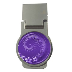 Violet Abstract Flowers Money Clip (round) by BestCustomGiftsForYou
