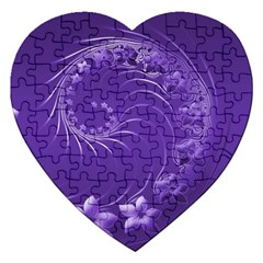 Violet Abstract Flowers Jigsaw Puzzle (heart) by BestCustomGiftsForYou