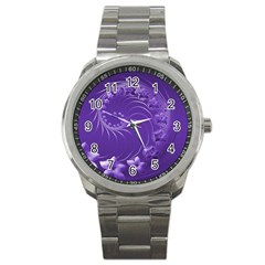 Violet Abstract Flowers Sport Metal Watch by BestCustomGiftsForYou