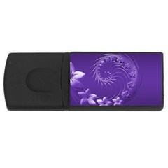 Violet Abstract Flowers 4gb Usb Flash Drive (rectangle) by BestCustomGiftsForYou