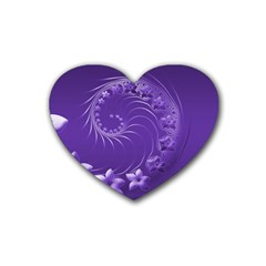 Violet Abstract Flowers Drink Coasters 4 Pack (heart)  by BestCustomGiftsForYou