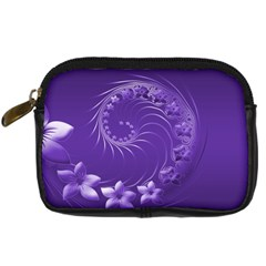Violet Abstract Flowers Digital Camera Leather Case by BestCustomGiftsForYou