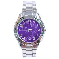 Violet Abstract Flowers Stainless Steel Watch (men s) by BestCustomGiftsForYou