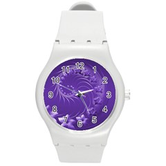 Violet Abstract Flowers Plastic Sport Watch (medium) by BestCustomGiftsForYou