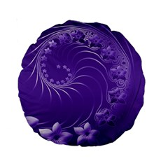 Violet Abstract Flowers 15  Premium Round Cushion  by BestCustomGiftsForYou