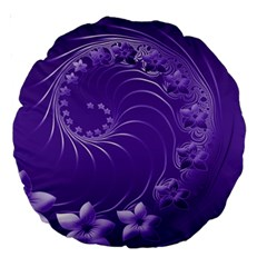 Violet Abstract Flowers 18  Premium Round Cushion  by BestCustomGiftsForYou
