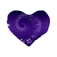 Violet Abstract Flowers 16  Premium Heart Shape Cushion  by BestCustomGiftsForYou