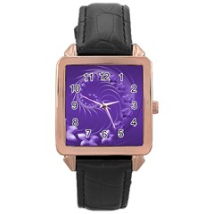 Violet Abstract Flowers Rose Gold Leather Watch  by BestCustomGiftsForYou