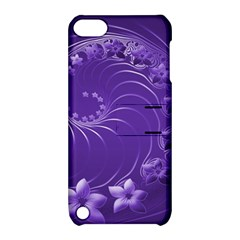 Violet Abstract Flowers Apple Ipod Touch 5 Hardshell Case With Stand by BestCustomGiftsForYou
