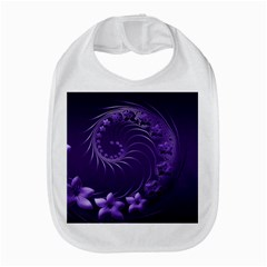 Dark Violet Abstract Flowers Bib by BestCustomGiftsForYou