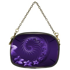 Dark Violet Abstract Flowers Chain Purse (two Side) by BestCustomGiftsForYou