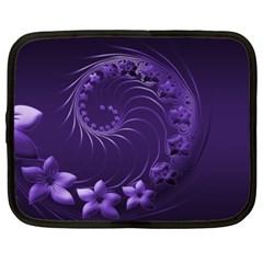 Dark Violet Abstract Flowers Netbook Case (xxl) by BestCustomGiftsForYou