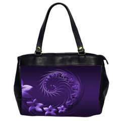 Dark Violet Abstract Flowers Oversize Office Handbag (two Sides) by BestCustomGiftsForYou