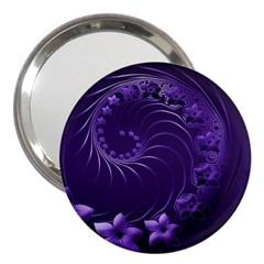 Dark Violet Abstract Flowers 3  Handbag Mirror
