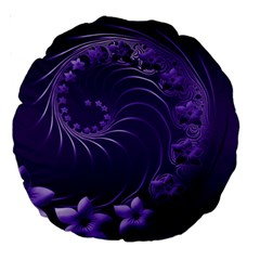 Dark Violet Abstract Flowers 18  Premium Round Cushion  by BestCustomGiftsForYou