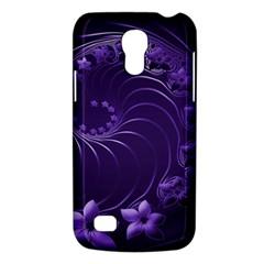 Dark Violet Abstract Flowers Samsung Galaxy S4 Mini Hardshell Case  by BestCustomGiftsForYou