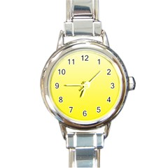 Cream To Cadmium Yellow Gradient Round Italian Charm Watch by BestCustomGiftsForYou