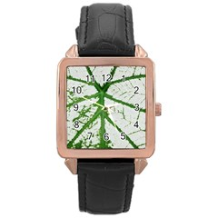 Leaf Patterns Rose Gold Leather Watch  by natureinmalaysia