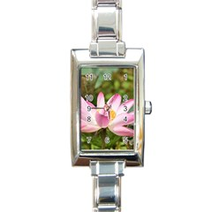 A Pink Lotus Rectangular Italian Charm Watch by natureinmalaysia
