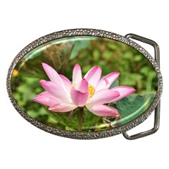 A Pink Lotus Belt Buckle (oval)