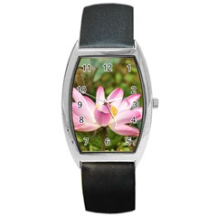 A Pink Lotus Tonneau Leather Watch by natureinmalaysia