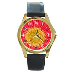 A Red Flower Round Metal Watch (gold Rim)  by natureinmalaysia