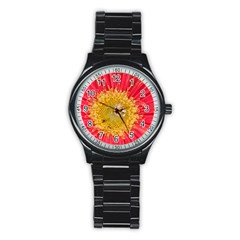 A Red Flower Sport Metal Watch (black) by natureinmalaysia