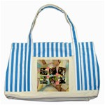 marshmallows & candy flowers - Striped Blue Tote Bag