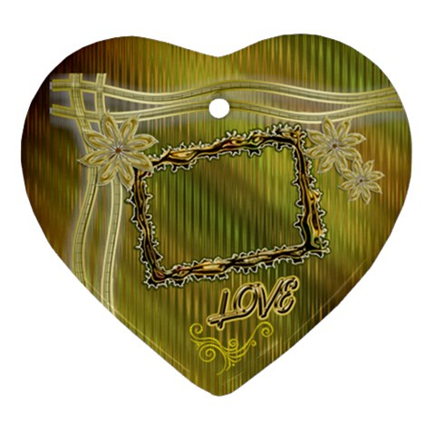 Love Floral Ribbon Heart Christmas Ornament By Ellan   Ornament (heart)   N5v7q800obkh   Www Artscow Com Front